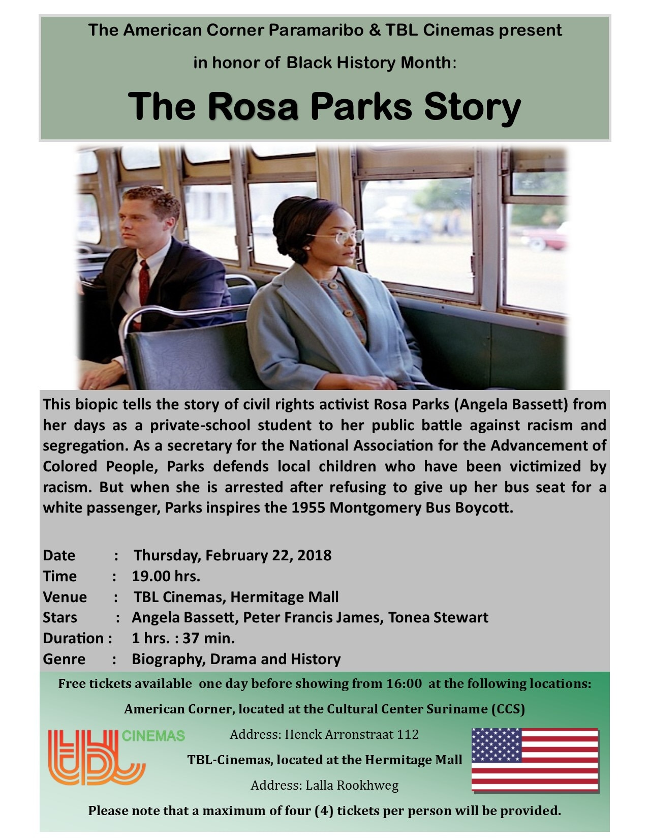 Movie Night The Rosa Parks Story U S Embassy In Suriname