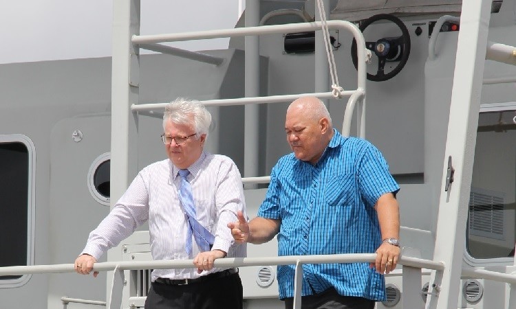 Two men on a boat